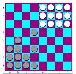 Пример окончания партии в шашки уголки